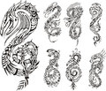 Stylized dragons as initial s set of black and white vector illustrations Royalty Free Stock Photos