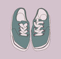 Stylized drawing of misplaced footwear in color