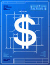 Stylized drawing of money symbol on blueprint paper Royalty Free Stock Photography