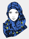 Stylized drawing of muslim female wearing scarf