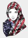 Stylized drawing of muslim female wearing scarf