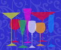 Stylized drinks on a blue background assorted glasses for martini wine brandy etc swirl Stock Image