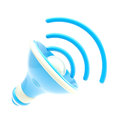 Stylized dynamic blue speaker isolated Royalty Free Stock Photos