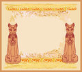 Stylized egyptian cats illustration Stock Photo