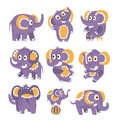 Stylized Elephant With Polka-Dotted Pattern Set Of Childish Stickers Or Prints Of Friendly Toy Animal In Violet And Royalty Free Stock Photo
