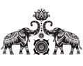 Stylized elephants and lotus flower