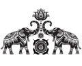 Stylized Elephants And Lotus F...