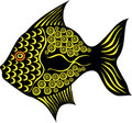Stylized fancy fish on white background Stock Photos