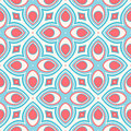 Stylized flowers beautiful retro geometric pattern with pink and blue Stock Photography