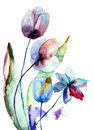 Stylized flowers blue watercolor illustration Stock Image