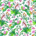 Stylized flowers and hedgehog seamless pattern with Stock Images