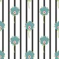 Stylized flowers on striped background, seamless pattern Royalty Free Stock Photo