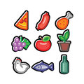 Stylized food icons