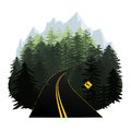 stock image of  Stylized forest road vector illustration with mountains in the h
