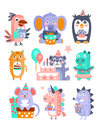 Stylized Funky Animals Birthday Celebration Sticker Set Royalty Free Stock Photo