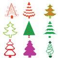Stylized Funky Christmas Tree Icons Royalty Free Stock Photo
