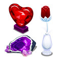 Stylized glass red heart, single rose and amethyst Royalty Free Stock Photo