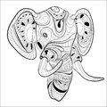 Stylized head of an elephant. Ornamental portrait of an elephant. Black and white drawing. Indian. Mandala. Vector Royalty Free Stock Photo