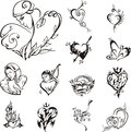 Stylized heart designs Royalty Free Stock Photography