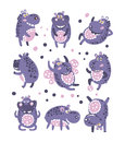 Stylized Hippo With Polka-Dotted Pattern Collection Of Childish Stickers Or Prints Of Friendly Toy Animal In Violet