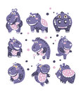 Stylized Hippo With Polka-Dotted Pattern Set Of Childish Stickers Or Prints Of Friendly Toy Animal In Violet And Blue