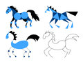 The stylized horse four horses in blue color Royalty Free Stock Photography