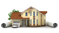 A stylized house model with floor plan, ruler and pencil,