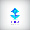 Stylized human yoga shape Logo. Man sitting Lotus pose design vector template.