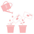 Stylized icon of the watering can pours fuel potted money trees Royalty Free Stock Photo
