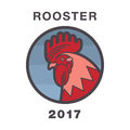 Stylized Illustration of Rooster, Symbol of 2017 on the Chinese calendar. Vector Element for New Year's Design.