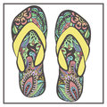 Stylized image of patterned pair of flip flops Royalty Free Stock Photo