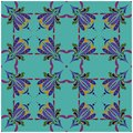 Stylized iris flower. Seamless floral colorful pattern.