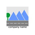 Stylized logo with landscape and road Stock Image