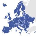 Stylized Map of Europe. Royalty Free Stock Photo