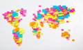 Stylized map of the world of colorful stickers Royalty Free Stock Photo