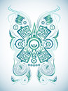 Stylized mayan symbol tattoo vector illustration surf style easy edit Stock Image