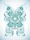 Stylized mayan symbol tattoo vector illustration surf style easy edit Stock Image