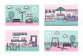 Stylized modern minimalistic vector city places illustrations. Park, playground, farmers market, street caffee.