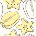 Stylized outline carambola seamless pattern