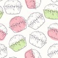 Stylized outline seamless pattern with muffins