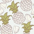 Stylized outline seamless pattern with pineapple