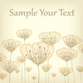 Stylized pastel card beige flowers on text illustration Stock Image