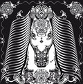 Stylized patterned head horse black and white Royalty Free Stock Photo