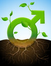 Stylized plant in shape of men sign in ground Royalty Free Stock Photography