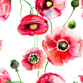 Stylized poppy flowers illustration seamless wallpaper Stock Photos