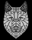 Stylized portrait of a wolf. Abstract dog head. A predatory animal. Black and white illustration. Tattoo. Print. Royalty Free Stock Photo