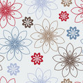 Stylized red, blue and brown flowers Royalty Free Stock Photo