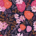Stylized red, pink and brown flowers and berries on indigo background. Royalty Free Stock Photo