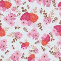 Stylized red, pink and brown flowers and berries on light blue background. Royalty Free Stock Photo