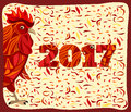 Stylized red rooster, chinese new year